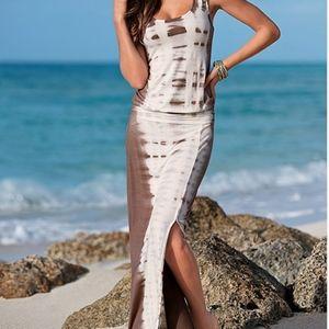 VENUS Tie Dye Maxi Dress in Brown Multi, Size L